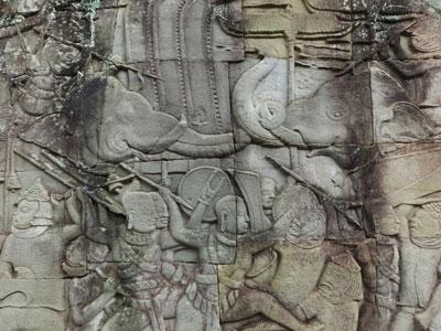 Eléphants de combat de l'armée Khmère
