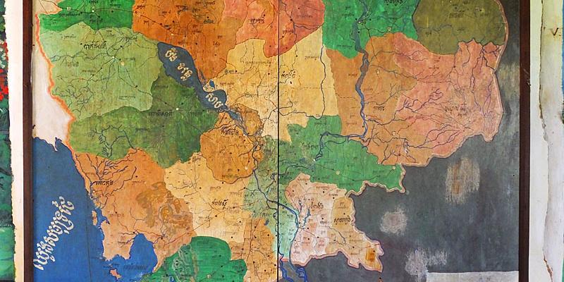 Fresque peinte de la carte du Cambodge sous le régime khmer rouge