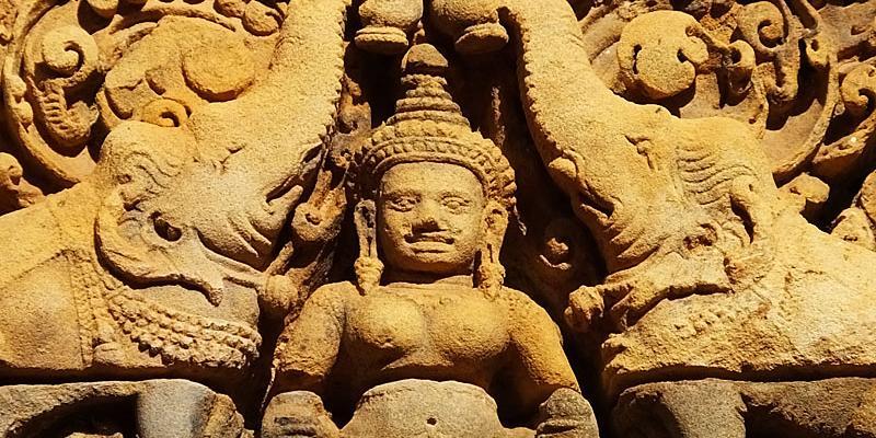 Deux éléphants versant de l'eau bénite sur Shiva