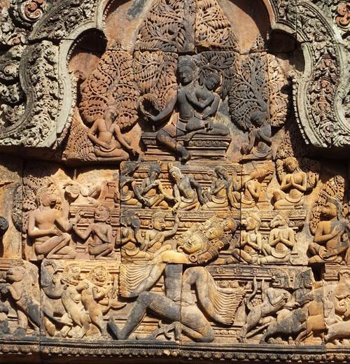 Ravana à dix têtes secouant le mont Kailâsa