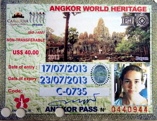 Carte d'entrée pour Angkor