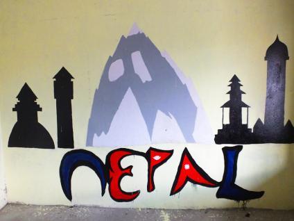 Fresque Népal - Népal 2015 © Doré. Elisa