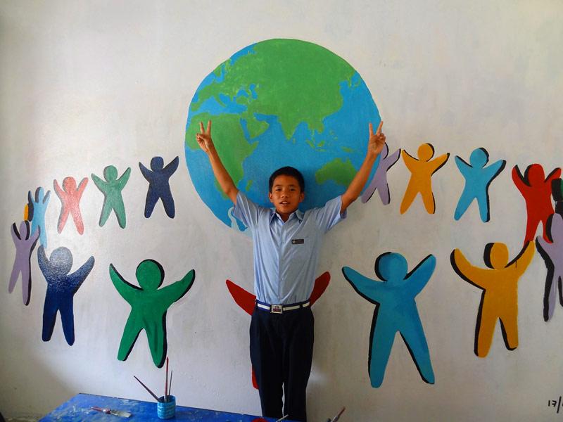 Fresque solidarité - Népal 2015 © Doré. Elisa